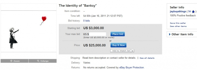 Banksy eBay ID on auction